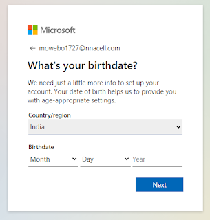 Fill your country and birthday details