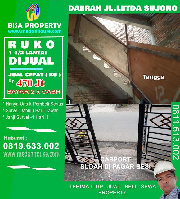 Rumah Ruko 1 1/2 Tingkat dijual daerah letda sujono tembung