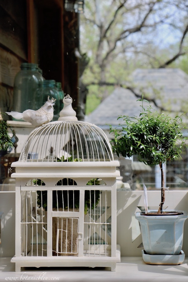 French inspired white bird cage and a French style garden shed