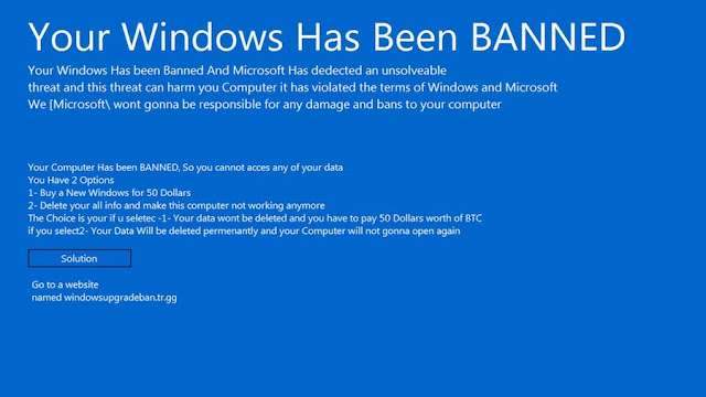 "Ransomware ""Your Windows is Banned"" Muncul Dan Minta Tebusan $50 Bitcoin"