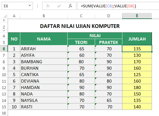 Fungsi VALUE Number Stored as text di Excel