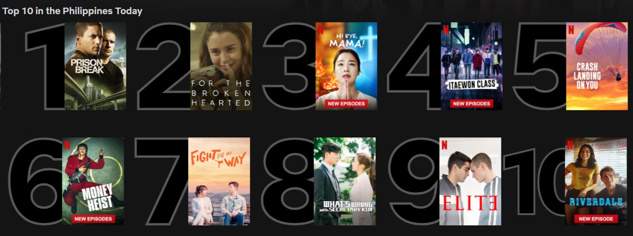 Top 10 series/films in the Philippines on Netflix today