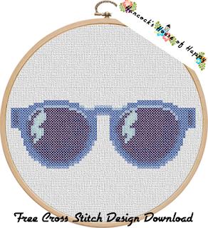 sunglasses free cross stitch pattern to download