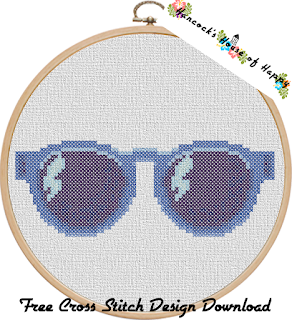 Blue Sunglasses Cross Stitch Pattern