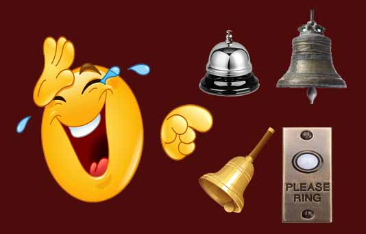 A picture with all kinds of bells, doorbell, school bell, church bell and call bell.