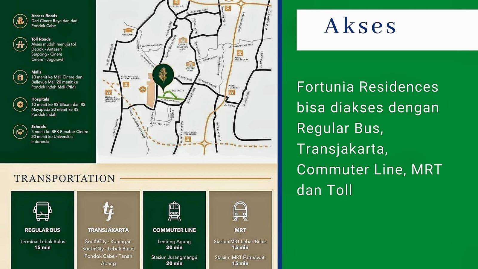 akses menuju fortunia residences