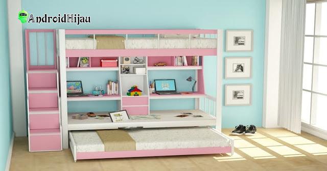 desain inspirasi kamar 2 anak satu ruang simple