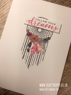 Handmade Follow Your Dreams dreamcatcher card in shades of pink - Melon Mambo, Calypso Coral and Blushing Bride, made with Stampin' Up! products