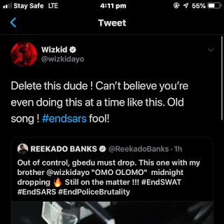 Wizkid called Reekado Banks a fool and clout animal amidst endsars protest