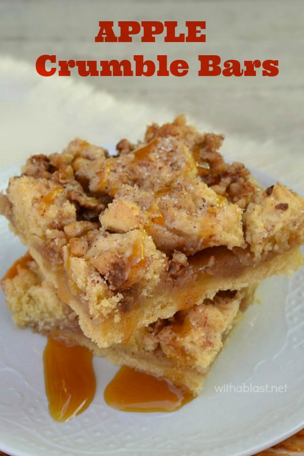 Apple Crumble Bars -  A no-fuss, easy recipe and so addicting ! Apple, cinnamon, walnuts and drizzled with Caramel Sauce makes this a winner