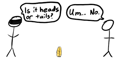 """Two stick figures with a coin on its edge in between them. Blindfolded stick figure asks """"Is it heads or tails?"""" The other replies """"Um... No."""""""