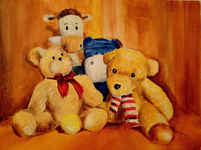 oil painting of ball and teddy bears