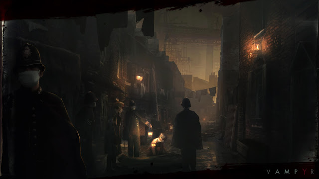 Victorian police wear mouth coverings as they invastigate a murder in a gothic style alley way, from Vampyr