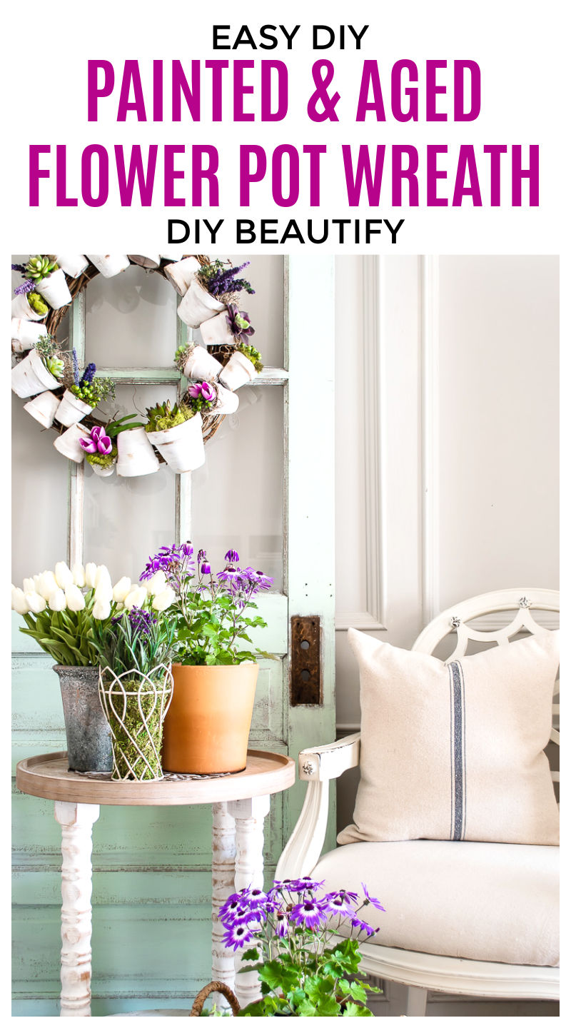 flower pot wreath with succulents and Spring flowers