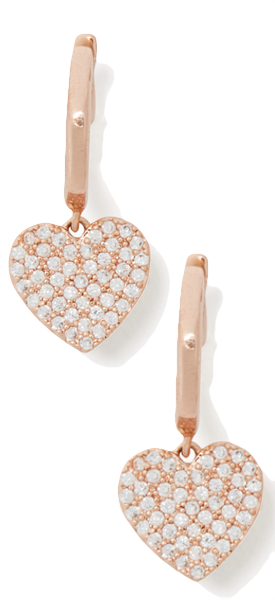 kate spade new york yours truly pave heart drop earrings