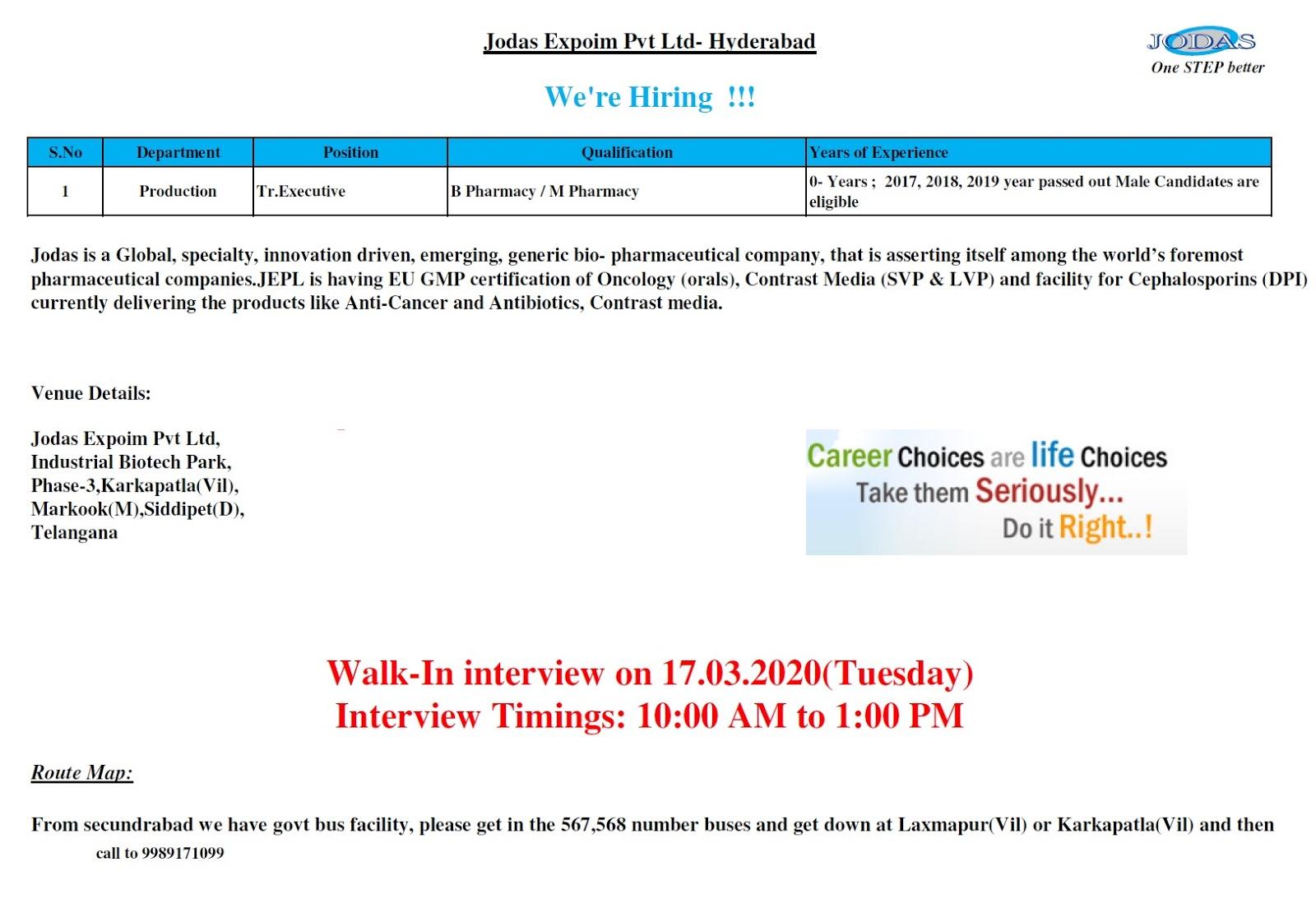 Jodas Expoim Pvt. Ltd - Walk-In Interview for B.Pharm / M.Pharm Freshers on 17th Mar' 2020
