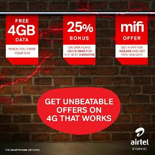 get Free 4GB data, 25% data bonus and 4GB MiFi data on Airtel