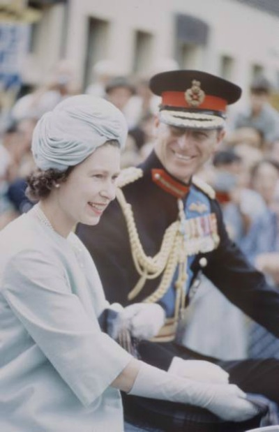 Photo of Queen Elizabeth and Prince Phillip during Royal Tour.