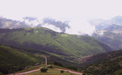 mountains of Arasbaran civered in fog and dense trees.