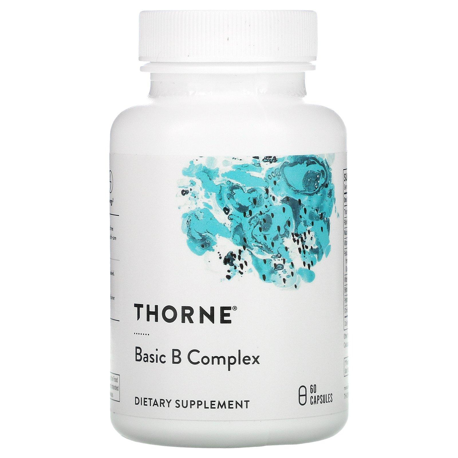 Thorne Research, комплекс основных витаминов группы B, 60 капсул