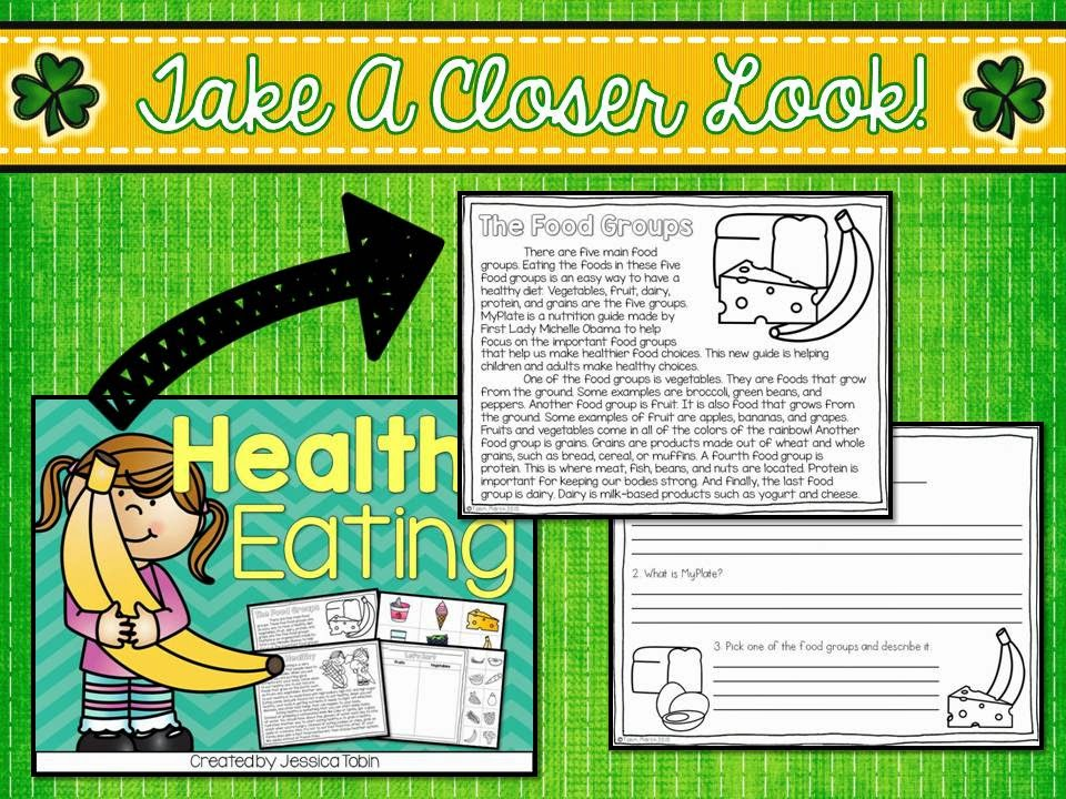 FREE Healthy Eating reading passage- free activity sample from Healthy Eating unit- try it and test it out.