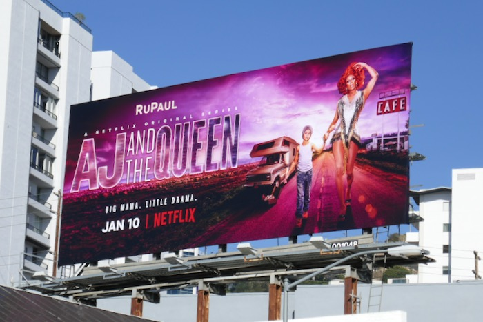 AJ and the Queen series premiere billboard