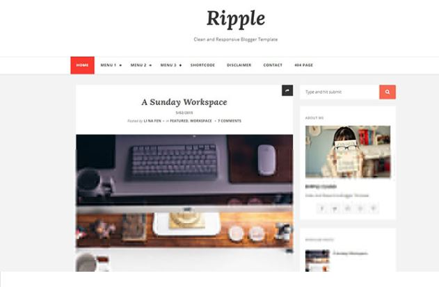 Chia sẻ giao diện blogger Ripple mag blogger template