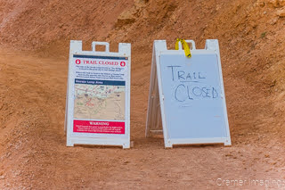 Cramer Imaging's photograph of the Navajo trail being closed at Bryce Canyon National Park Utah