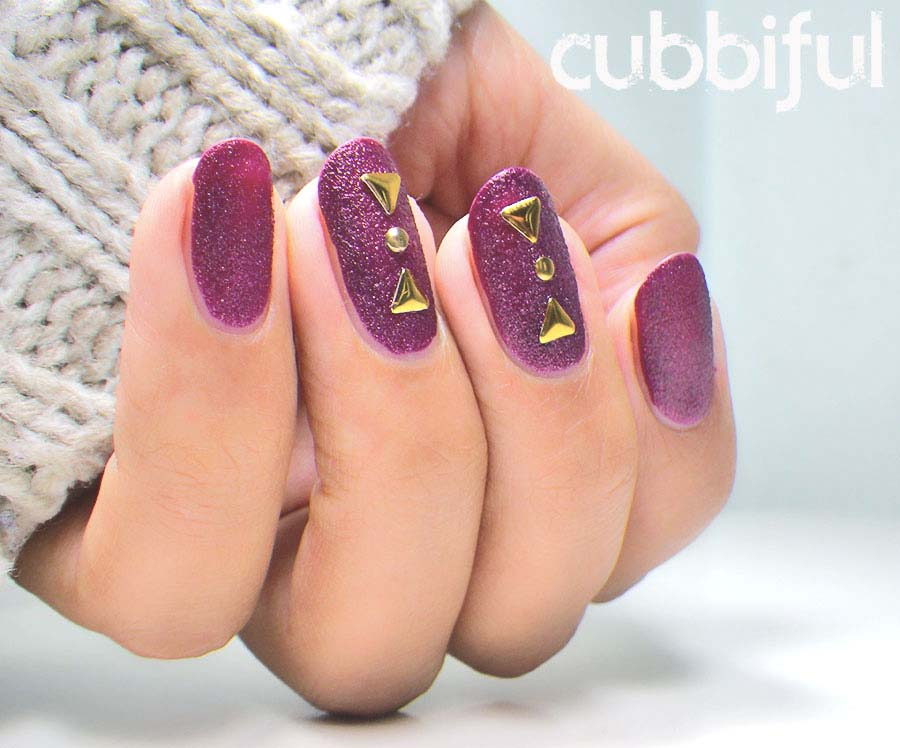 Kiko texture nails with gold studs