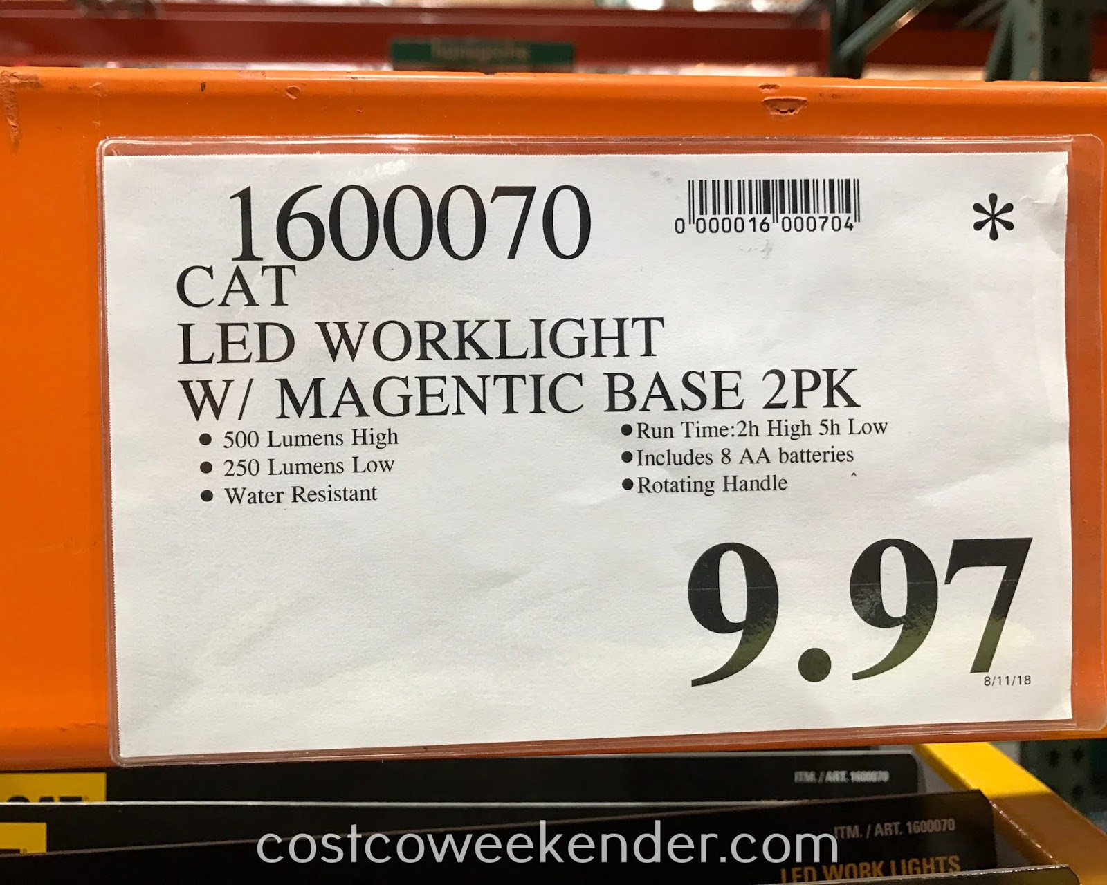 Deal for a 2 pack of Cat LED Work Lights at Costco