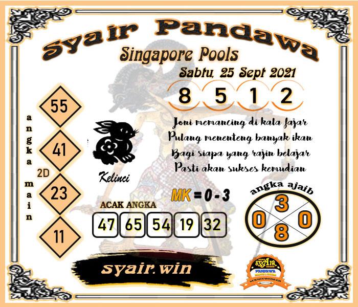 Syair Pandawa Sgp Sabtu 25 September 2021