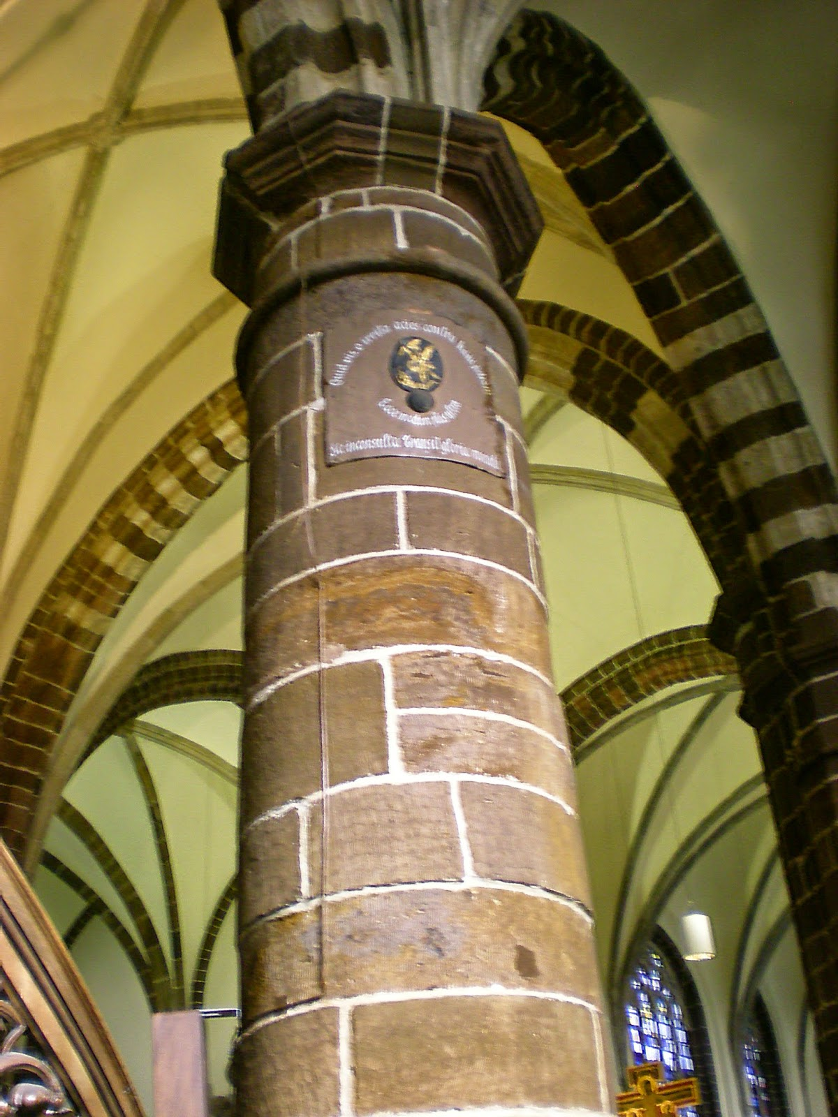 The pillar of St John-the-Baptist Church still has a cannonball embedded in one of the pillars