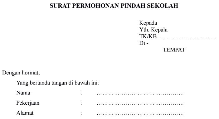 Download Contoh Surat Permohonan Pindah Sekolah Format Word Guru Keguruan