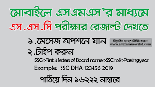 SSC result SMS format 2019
