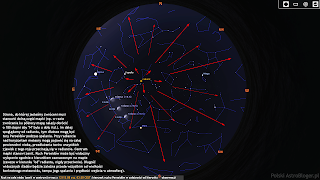 """Rzut oka na całe niebo (zenit w centrum) przy skierowaniu obserwatora ku południowej stronie horyzontu, w noc z 12/13.08. o godz. 03:30 CEST z zaznaczoną pozycją i fazą Księżyca nocą 11, 12 i 13.08.2020 r. Strona, do której jesteśmy zwróceni musi stanowić dolną część mapki (w razie zwrócenia ku północy mapę należy obrócić o 180 stopni, np. w razie zwrócenia ku północy by """"N"""" było na dole itd.). Im dalej spoglądamy od radiantu, tym dłuższe mogą być tory Perseidów podczas spalania. Przy radiancie nad horyzontem meteory mogą pojawić się na całej powierzchni nieba, przedłużenia torów wszystkich zjawisk z tego roju przecinają się w radiancie. Centrum mapki stanowi zenit. Ruch Perseidów może być widoczny wyłącznie zgodnie z kierunkiem zaznaczonym na mapie (zawsze w kierunku """"od"""" radiantu, nigdy przeciwnie). Długość widocznych śladów będzie zależna przede wszystkim od wielkości konkretnego meteoroidu, tempa jego spalania i prędkości wejścia w atmosferę)."""