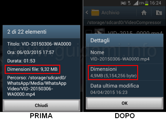 Video dimensioni ridotte con Video Compressor app Android