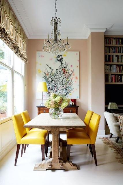 desain interior ruang makan kuning