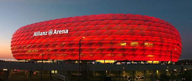 Fachada do estádio Allianz Arena em Munique