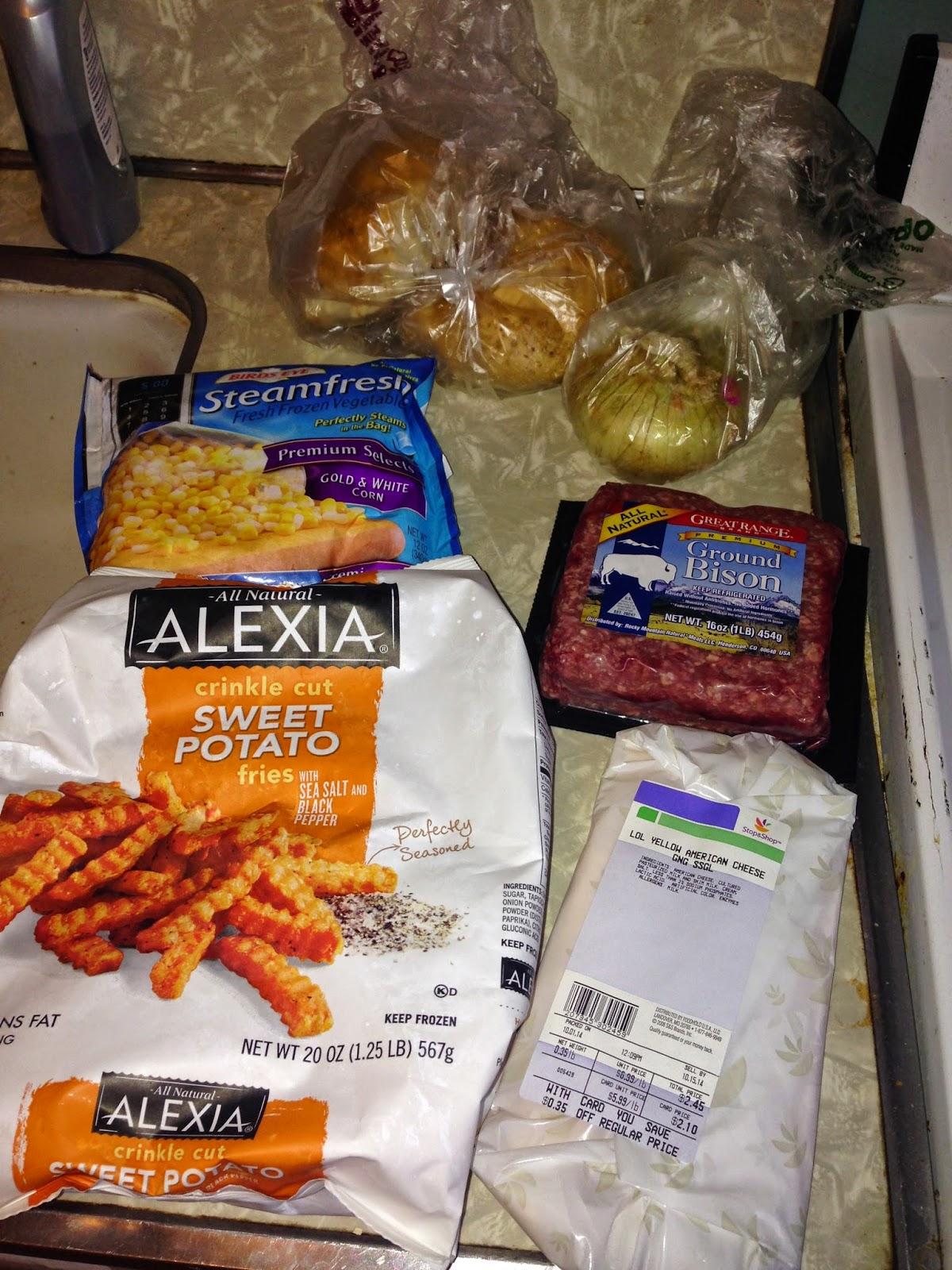rolls, onion, corn, ground bison, sweet potato fries, american cheese