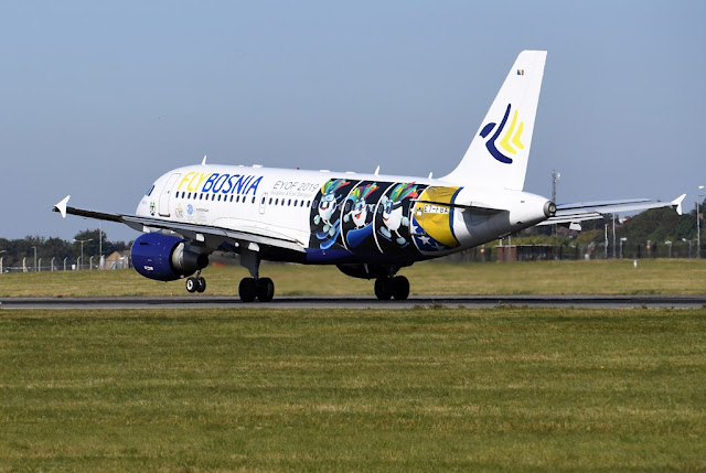 FlyBosnia A319 jet landing at airport