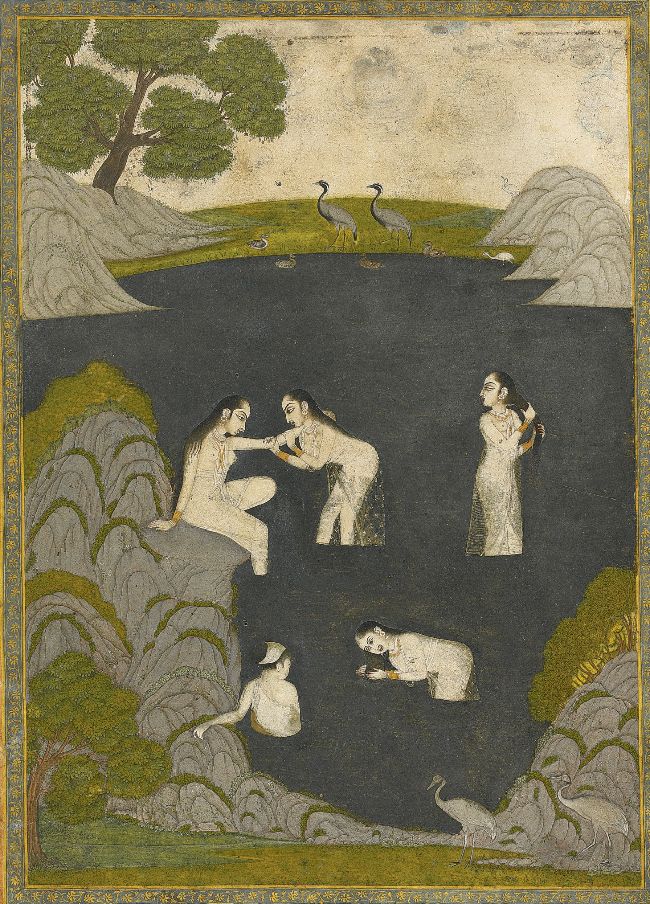 Ladies Bathing in a Rocky Pool - India, Awadh, Late 18th century