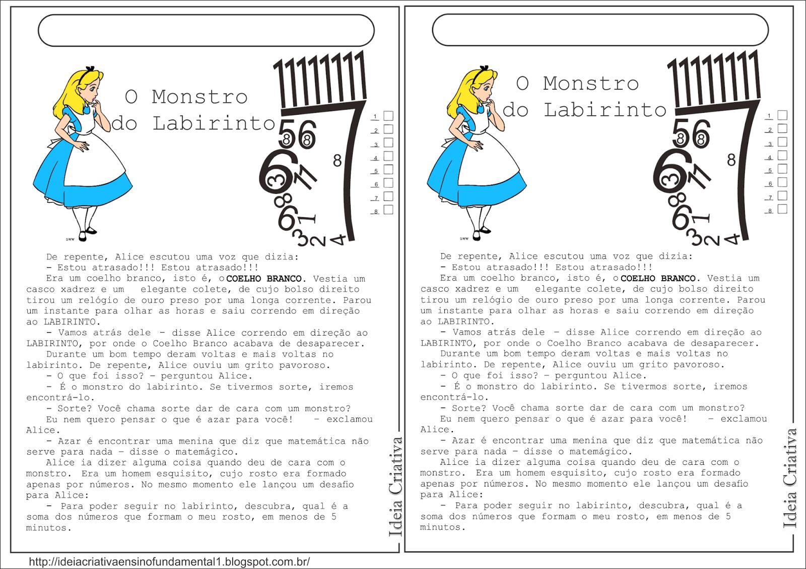 Atividade Pintando a Tabuada Multiplicação eDesafio  Adição Alice no País das Maravilhas