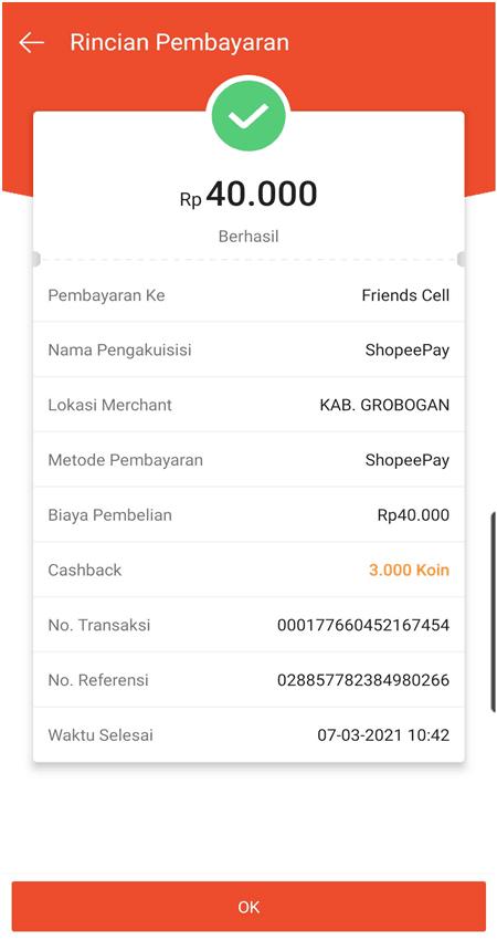bukti pembayaran shopeepay berhasil