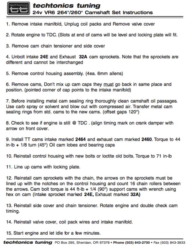DIY: Techtonics Tuning 24v VR6 (2 8 / 3 2) Camshaft Set