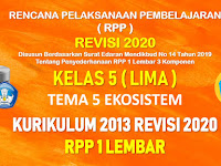 RPP 1 Lembar Kelas 5 Tema 5 SD/MI Kurikulum 2013 Revisi 2020 Tahun Pelajaran 2020 - 2021