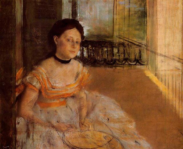 Эдгар Дега - Женщина, сидящая на балконе (1872)
