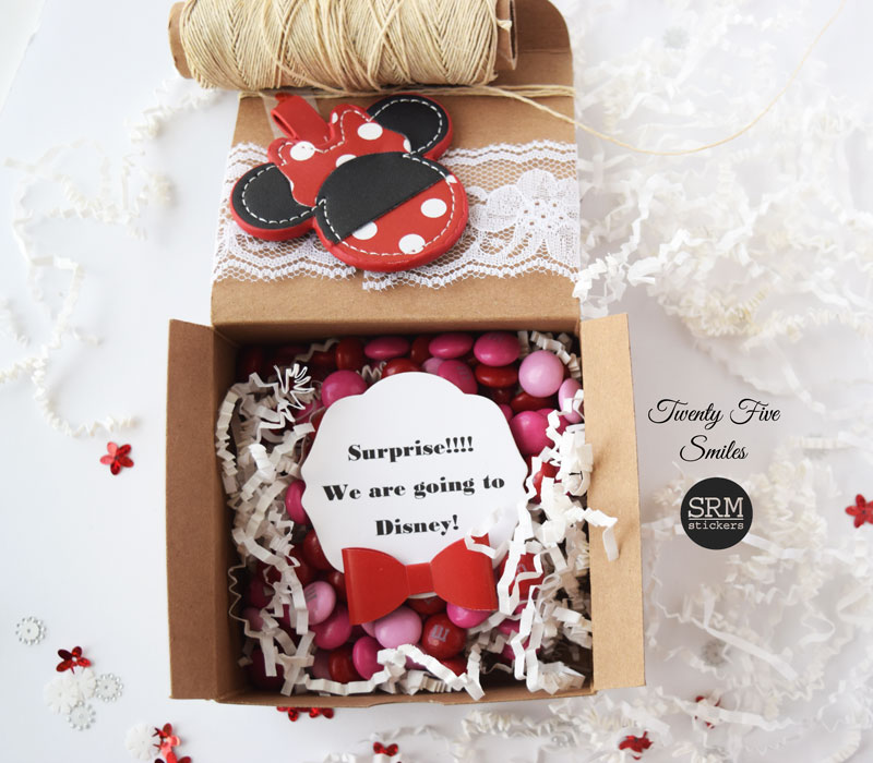I filled the box with candy and placed a message inside that reads - Surprise! We are going to Disney!  Your kids can use the key chain on a backpack during ... & SRM Stickers: SRM Disney Gift Box by Angi
