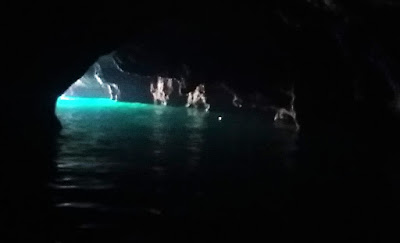 Photo of the Emerald colour light in the cave on Ko Mook