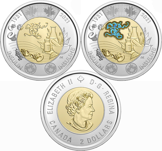 Canada 2 dollars 2021 - 100th anniversary of the discovery of insulin
