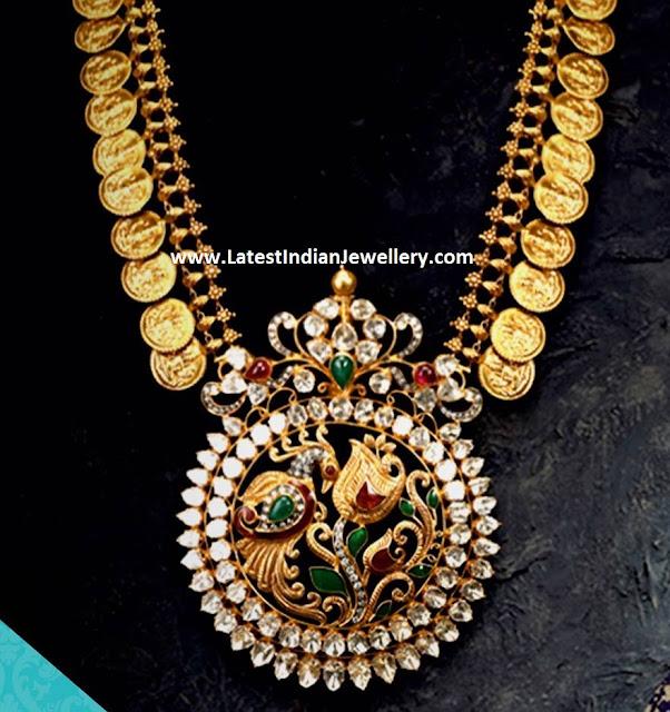 Unique Kasu Necklace Round Pendant